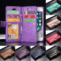 Galaxy S10+ S8 S9 Plus For Samsung Removable Leather Zipper Wallet Case Cover