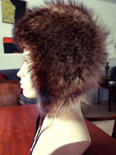FOX FUR HAT HOOD Vintage Couture Silvery Fur. Fits Small to Medium Size Head