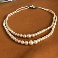 2 Strand Necklace Faux Glass Pearl 1950s Vintage Old Graded Twin Bridal Wedding