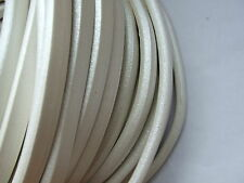 1 Yard Pearl White Licorice Real Leather Cord 10mm x 6mm for Necklace Bracelet