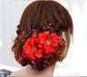 Haarblume ROT Perlen Haarschmuck Blüte Blume Schmuck Haargesteck Braut Hochzeit