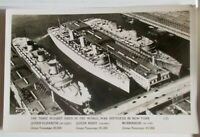 Old Post Card - WW ll - HIDING IN NY HARBOUR..Normandie, Q. Elizabeth & Q. Mary