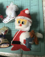 Mixed Vtg Japan Kitsch Homemade Christmas Ornament Or Craft Lot Santa Snowman