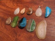 Crystal Pendant Necklace Lot Of 10 Gemstone  Wholesale Group 3 Stone Jewelry