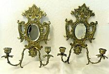 Superbe paire appliques bougeoirs BRONZE miroir XIXe ancien