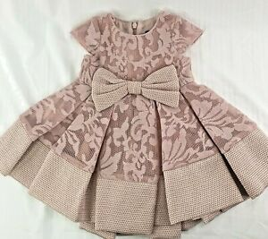 BARDOT JUNIOR Baby Girl Formal Dress 9-12M Pink Lace Bow Pleated S/S Lined