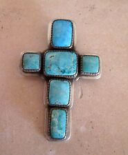 Royston Turquoise Cross Sterling Pendant/Pin  J. Piaso Jr. Navajo NOS