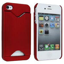 Red Back Cover Case with Credit Card Holder for iPhone 4 / 4S