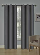 2PC Foam Lined Heavy Thick Blackout Grommet Window Curtain Panels KK92 Charcoal