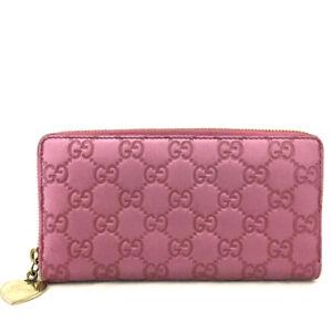 GUCCI Shima GG Logo Pink Leather Zippy Around Long Wallet / /E0704