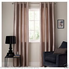 John Lewis Montpellier Stripe Lined Eyelet Curtains, Taupe W164cm L136cm
