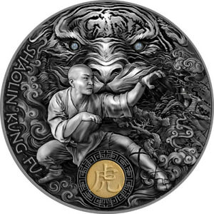 Shaolin Tiger 2 ounce silver Antique Finish 5 $ Niue 2021 Oz Silber