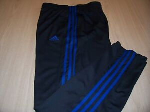 ADIDAS GRAY W/BLUE STRIPES ATHLETIC PANTS MENS LARGE EXCELLENT CONDITION
