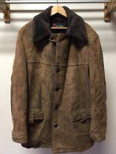 Vintage 1970's McGregor Brown Leather Black Fur Lined Jacket 46 L Long Fits XL