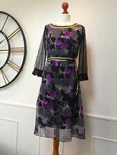 TED BAKER black / grey / purple floral  rose print dress size 2  UK 10