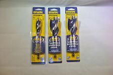 """3 NEW Irwin Speedbor Max Tri-Flute Drill Bits 3/4"""", 1-3/8"""" and 1-1/2""""  x 6"""""""