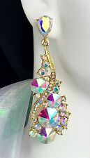 """2.75"""" AB Gold Rhinestone Crystal Earrings, Drag Queen, Prom, Pageant, Bridal"""