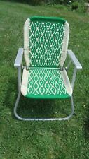 VINTAGE ALUMINUM Folding Macrame LAWN Arm Patio CHAIR Green Metal arms