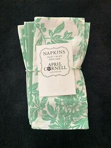 APRIL CORNELL - VINTAGE-LOO0K FELICITY GREEN FLORAL & DOT NAPKINS SET OF 8 - NEW
