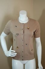 ANN Taylor Short Sleeved Tan Bejewelled Cardigan Top~Size MP