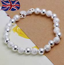 925 Sterling Silver plated Bracelet 8mm Ball Bead Textured & Smooth Gift Bag UK