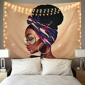 Tapestry Wall Hanging African Girl Hippie Girl Retro Glasses Tapestries Decorat