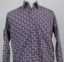 Bugatchi Uomo Shirt Medium Purple Abstract Checker Board Plaid Button Front