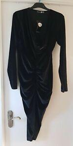 Boohoo Womens Sparkle BlackVelvet Cowl Neck Front Rouche Dress Size UK14 EUR42