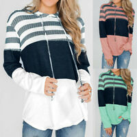 US Women Long Sleeve Striped Top Color Block Drawstring Hoodie Sweatshirt Blouse