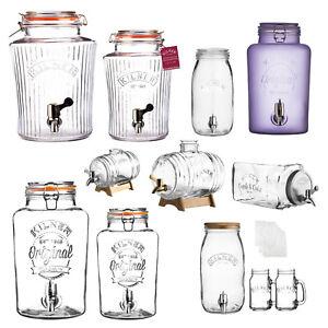 Kilner Infusion Preserving Glass Jar Kombucha Water Dispense Tap Juice Punch Jug