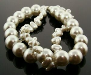 "VINTAGE JAPAN GREY PEARL 2 STRAND 10mm. ROUND NUGGET LUCITE BEAD 8"" SECTION A985"