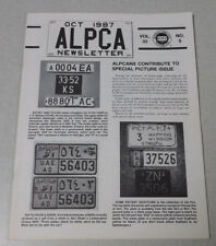 October 1987 ALPCA newsletter International plates