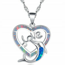 Fashion 925 Silver Jewelry Dolphi Blue Fire Opal Charm Pendant Necklace Chain ~~