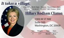 Hillary Rodham Clinton Washington DC  ID card Drivers License It takes a Village