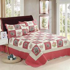 Cotton Quilt Patchwork Bedspread/Coverlet Queen/King Size Floral Pillow Cases