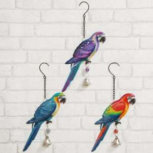 Parrot Metal Plaque With Bell Garden Wall Art Hanging Decoration Choose A Colour