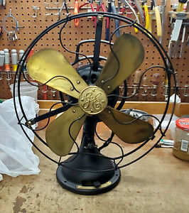 VINTAGE ANTIQUE COLLECTIBLE GE FAN MODEL AOU TYPE BRASS BLADES - STOCK #4216