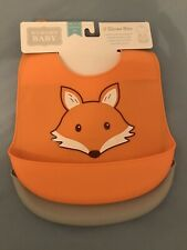New Hudson Baby Silicone Bibs, 2-Pack, Orange Fox & Gray Be Brave