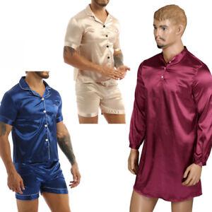 Mens Silk Satin Pajama Long Sleeve Loose Pullover Sleepwear Homewear Nightshirt