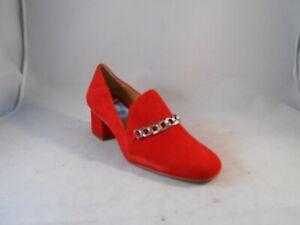 Franco Sarto Layola Red Suede Pumps Block Heels w/ Silver Chain Wmn's Size 8 M