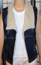 NWT SUGAR MAGNOLIA Junior Women's Sz 5 Fleece Trimmed Distressed Open Jean Vest
