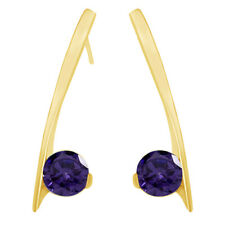 Round Shape Alexandrite Dangle Earrings 14K Yellow Gold Over Sterling Silver