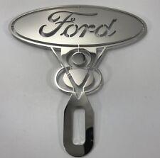 Ford V8 Engine Emblem License Plate Topper Vintage Style Chrome Stainless Steel