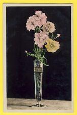 cpa sur Papier glacé ART DÉCO Fleurs Flowers VASE BOUQUET d'OEILLETS EYELETS