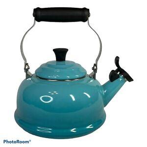 BEAUTIFUL LE CREUSET TEAL BLUE WHISTLING TEA KETTLE 1.7 QT ENAMELED STEEL