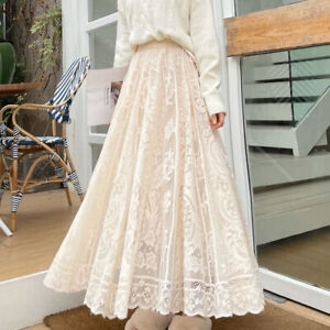 Lady Lace Floral Skirt Long Maxi Casual Summer Elastic Waist Swing Skirts Loose