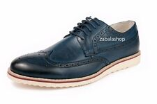 Men's Brogue Oxford Flats Dress Shoes Lace Up Wingtips Casual Navy Blue