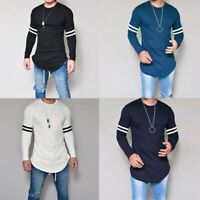 Men's Fashion Long Casual Tops Slim Tee T-shirt O-Neck Muscle Blouse Fit Sleeve