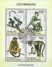 Timbres Animaux Primates Singes Cote d'Ivoire 1338/41 o année 2014 lot 25977