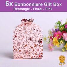 6x Floral Laser Cut Wedding Bonbonniere Bomboniere Candy Gift Boxes - Pink